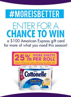 Get a chance to win $100 DAILY from Cottonelle by pinning! #MoreIsBetter #ad http://on.fb.me/18vq2QP