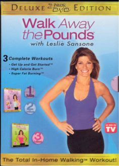 """Leslie Sansone """"Walk away the Pounds""""  Great all over body work out with light weights to tone the arms while you work the legs.  Low impact but high intensity.  1 & 2 mile work outs."""