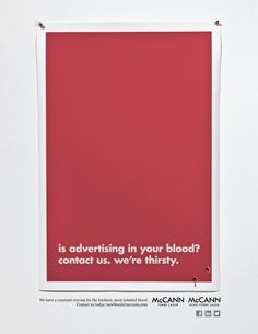 """McCann Torre Lazur and McCann echo Torre Lazur for """"New Blood/Best Brains Campaign Recruitment Ads"""" Recruitment Ads, Best Brains, Copywriting, Letter Board, Blood, Campaign, Advertising, Business, Infographics"""