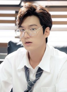 Lee Min Ho with glasses, detail of still from The Legend of the Blue Sea