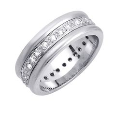 Save $7,896.00 on 0.56ct White Diamonds Platinum Men's Contemporary Eternity Canal Wedding Band (8mm); only $5,936.99