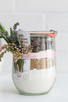 DIY Lavender Chocolate Chunk Cookie Mix in a Jar / Adding Charm using the @PtouchEmbellish ribbon and tape printer / Baking / Cookies / Crafting / Partner #PtouchEmbellish