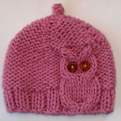Pink Owl Cable Knit Hat by laceandcable on Etsy. Reasonable price for the pattern. Pin leads back to Etsy.