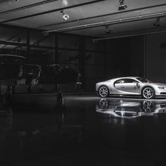 A Bugatti Chiron sits on the factory floor in Molsheim