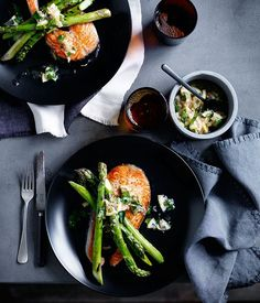 Grilled salmon chops with asparagus and lemon relish recipe :: Gourmet Traveller