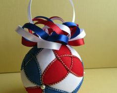 Kimekomi Christmas Ornament - Red White and Blue