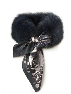 MaiTai Collection fox fur collar in MIDNIGHT BLUE