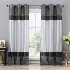 Duck River Theona Striped Grommet Curtain Panel Pair - THQGT=12 /11221