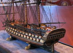 Fine model ship of the line, Brig rigged I believe ...