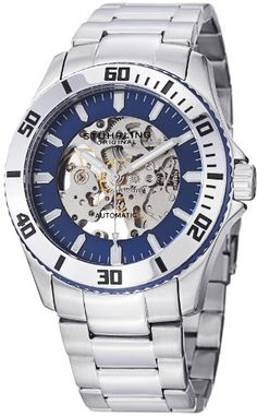 "Stuhrling Original Men's 773.02 ""Aquadiver Antilles"" Stainless Steel and Blue Skeleton Dial Automatic Watch - Listing price: $525.00 Now: $99.30"