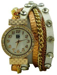 DESIGNER INSPIRED WRAP AROUND BRACELET WATCH-WHITE/ROSE GOLD