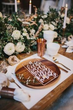 copper wooden wedding table decor / http://www.deerpearlflowers.com/bronze-copper-wedding-color-ideas/2/