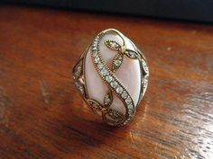 Vintage Ring Pink Shell Clear Stones 925 Thailand Size 10