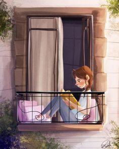 Ensimismada en la lectura (ilustración de Laura Catrinella)