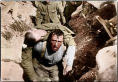 """""""A Still from the film 'The Battle of the Somme' showing a British soldier carrying a wounded comrade back from the front line. The scene is generally accepted as having been filmed on the first day of the battle, 1 July 1916."""" (This man died 30 minutes after reaching the trenches)"""
