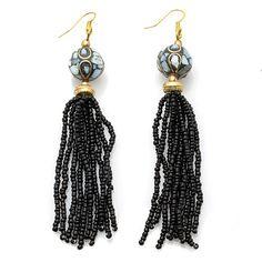 "Shop BAJALIA ""Ana"" Black Seed Bead Mosaic Station Tassel Earrings at HSN mobile. So simple and yet so elegant."