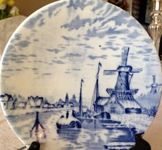 Vintage Delftware Windmill Plate Etsy $8