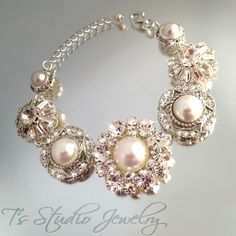 Vintage Style Pearl Button Bridal Bracelet, perfect for a Rustic or Vintage Style Wedding, from T's Studio Jewelry - www.tstudiojewelry.com