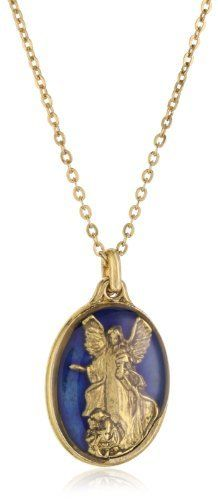 The Vatican Library Collection Oval Blue Angel Pendant Necklace Jewelry Necklaces, Gold Necklace, Pendant Necklace, Vatican Library, Angel Pendant, Blue Angels, Chain, Collection, Gold Pendant Necklace