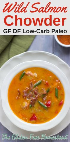 Healthy easy soup recipe for wild salmon chowder made with coconut milk by Gluten Free Homestead Healthy Soup Recipes, Dairy Free Recipes, Fish Recipes, Whole30 Recipes, Salmon Chowder, Salmon Soup, Gluten Free Dinner, Foods With Gluten, Soup And Salad