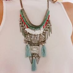 Boho necklace • Cutout bead tassel statement necklace ✨ Jewelry Necklaces