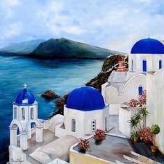 Resultado de imagen de paintings santorini greece