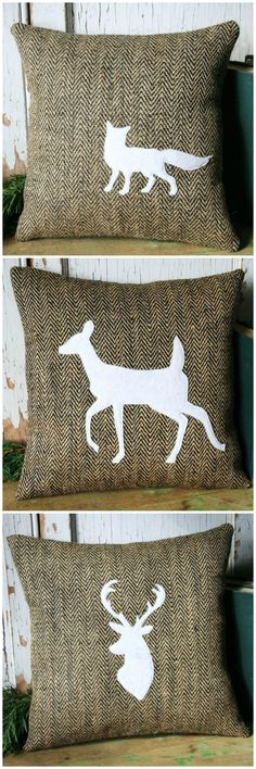 Outdoorsy pillows in a herringbone jute with felt applique | Scoutmob