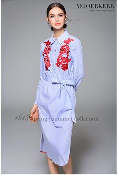 2016 Spring Summer Women Dress Embroidery Brief Turn-down Color Solid Print Vintage Retro Fashion Elegant Women Dress ch269 - STYLANDO