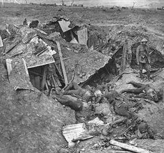 The result of a direct hit upon a German dugout near Guillemont during the Battle of the Somme, September 1916.