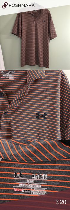 Under Armour Gray and Orange Striped Golf Shirt XL EUC. Collared Under Armour shirt in a lose fit. Size XL Under Armour Shirts Polos