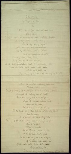 """A portion of Edgar Allan Poe's """"The Bells"""" written in his own hand"""