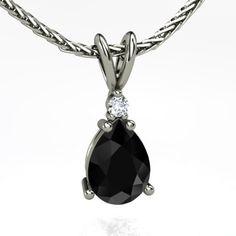 Brilliant Pear Solitaire Pendant. Customized in Black Diamond, Diamond & Platinum