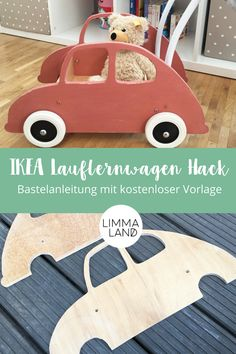 IKEA walker: A MULA Hack to drive away - The walker from IKEA becomes a car and a doll carriage. A MULA hack to copy. If the child is alread - Ikea Kids, Baby Zimmer Ikea, Auto Design, Ikea Baby, Diy Bebe, Dolls Prams, Kids Wood, Gifts For Office, Wood Toys