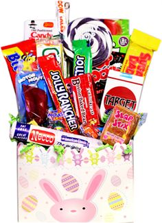 This Easter Bunny Gift Box is loaded with lots of good old fashioned fun nostalgic candy. Hoppy Easter, Easter Bunny, Easter Eggs, Candy Gift Baskets, Candy Gifts, Holiday Treats, Holiday Fun, Retro Candy, Candy Bouquet