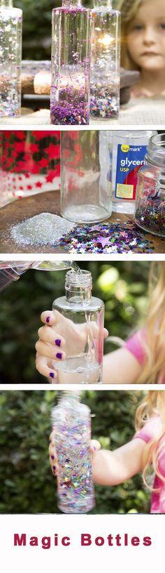 Bunte Glitzerflaschen mit Konfetti selbst basteln. Das klappt auch super mit Kindern!