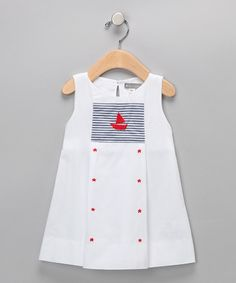 Look at this #zulilyfind! Petit Confection White & Navy Stripe Sailboat Star Dress - Infant by Petit Confection #zulilyfinds