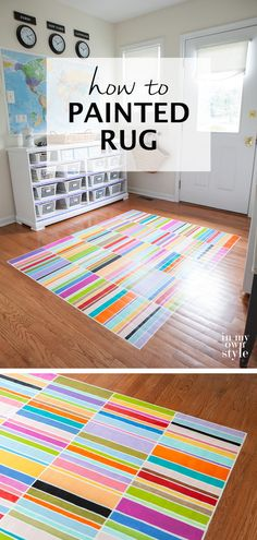 Decorating with paint. Step by step tutorial on how to paint a colorful striped rug on a floor that uses rugs from Dash & Albert and FLOR as inspiration.  #PaintedRug #Mudroom #Patterns #Colorful #DIY #Creative #Flooring #PaintAnything