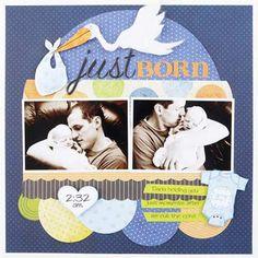Just born baby scrapbook idea page
