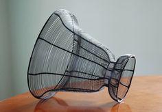 Vintage Black Wire Urn Planter Basket, Mid Century Wire Vase - SOLD! :)