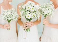 daisies and baby's breath bridal bouquets  #TheLANEWeddings and #DelphineManivet For the maids ...love it
