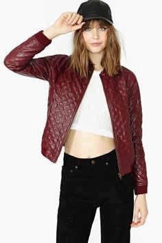 Tough Love Faux Leather Bomber Jacket #nastygal #toughlove #bomberjacket #quilted #quiltedleather #fauxleather #leather #leatherjacket #crimson #red