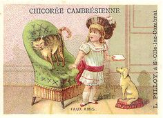 Little Girl with Cat  Dog Antique Vintage French Chromo Trade Card