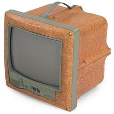 "Philippe Starck ""Jim Nature"" television, for Saba, c.1994, pressed wood case, remote control, equipped for an antenna, Signed ""Saba"" on front and ""Starck"" on side, 15.5""w x 15.5""d x 15""h, very good condition"