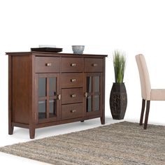 The Stratford Sideboard Buffet provides ample space for all your dining and entertaining needs. This beautiful and versatile piece is large enough to suit your storage needs yet small enough to fit easily in your dining room settings.
