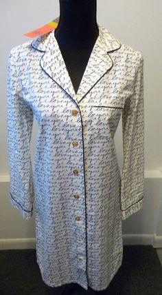 "Tory Burch NWT Sleepshirt ""i love you"" Ivory 100% Cotton Size Small Retail $195."