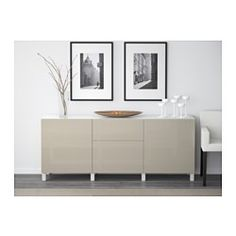 "BESTÅ Storage combination with drawers, white, Selsviken high-gloss/beige - 70 7/8x15 3/4x29 1/8 "" - IKEA"