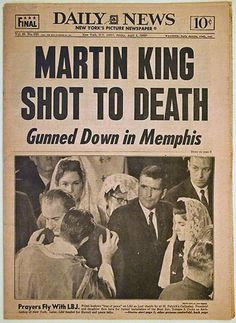 Forty-eight years ago Monday, civil rights leader Martin Luther King Jr. was assassinated. During a visit to Memphis, Tennessee, he was standing on the Lorraine Motel second-floor balcony on April History Facts, World History, European History, Martin Luther King Assassination, Non Plus Ultra, Newspaper Headlines, By Any Means Necessary, Civil Rights Movement, King Jr