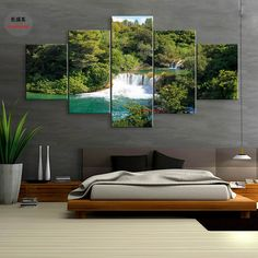 Cheap modern home, Buy Quality oil painting art directly from China landscaping waterfall Suppliers: Poster Water Landscape Waterfall Forest Canvas Painting Wall Decorative Oil Paintings Art Pictures Abstract 5 Pieces Modern Home