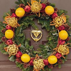 Colonial Christmas   Give your holiday a colonial feel by using wreaths embellished with colorful fresh or dried natural materials. Plants such as holly, magnolia, mistletoe, pine, ivy, and fir were common in the 18th century. Use them as a base for a more authentic look.