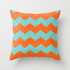 chevron - teal and orange Throw Pillow by her art